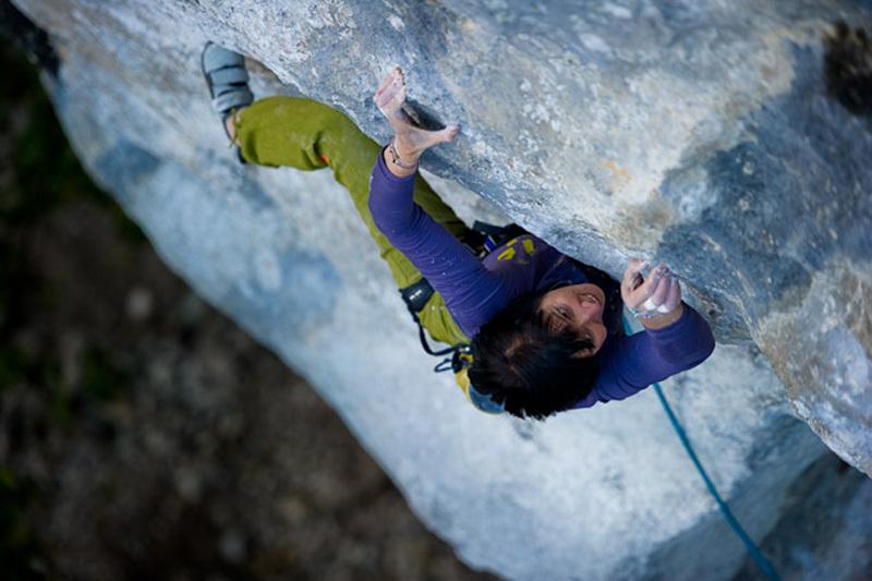 Barbara Raudner climbing Honig 8c, Höllental, Austria, Claudia Ziegler