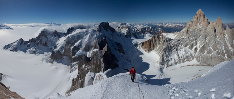 Exocet chimney on Cerro Standhart and the East Face of Cerro Piergiorgio., Jon Griffith