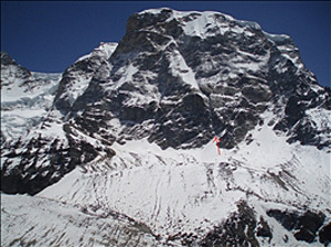 The line chosen by Mick Fowler and Dave Turnbull for the first ascent of Gojung (6310m) in Nepal., Nick Colton