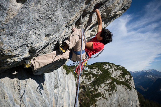 David Lama on Donnervogel, Sonnwand, Austria, archivio Lama