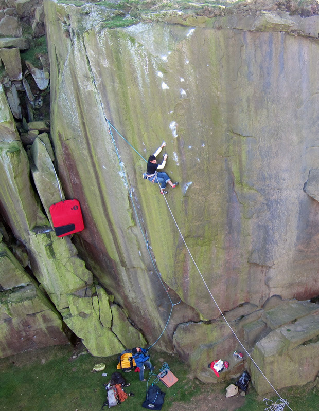 Jordan Buys during the first attempt on Loaded E8 7a at Ilkley Quarry, England, Scott Mackenzie