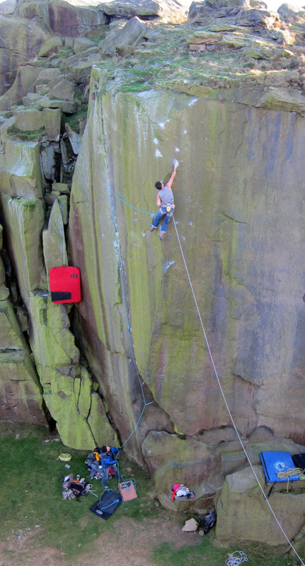 Jordan Buys on Loaded E8 7a at Ilkley Quarry, England, Scott Mackenzie
