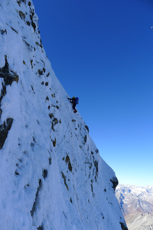 Mick Fowler during the first ascent of Gojung (6310m), Dave Turnbull