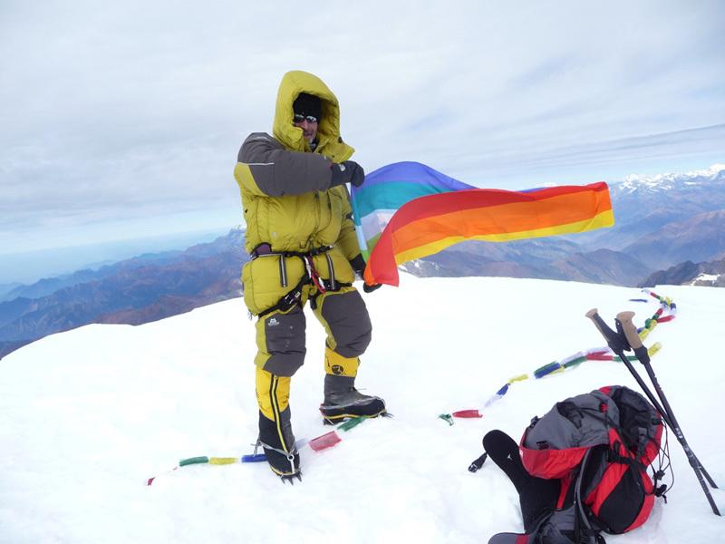 Sergio Zigliotto sulla vetta del Putha Hiunchuli a 7246m., Sergio Zigliotto