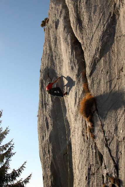 Manolo climbing at Baule, Vette Feltrine, Dolomites, Cristina Zorzi