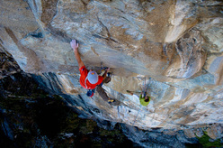 David Lama during the first ascent of Vamos a la playa, 6a, 8a+, 8b+, 8b+, 8a+, 6b, Cevio, Tessino, Switzerland.