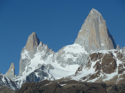 Aguja Poincenot and Fitz Roy from the road to Rio Electrico