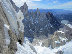 Colin Haley and Jorge Ackerman on El Caracol (500m, 5.9, A1+, M4), Cerro Standhardt, Patagonia.