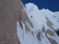 Corrado 'Korra' Pesce on the headwall of the Via dei Ragni, Cerro Torre