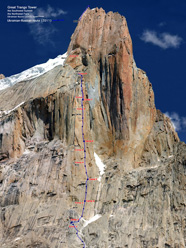 The line of the new Ukranian - Russian route up the NW Face of Great Trango Tower.