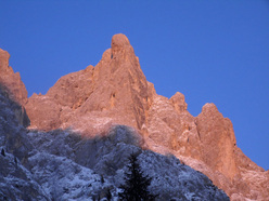 The rockfall on the east face of Sass Maor, Pale di San Martino, Dolomites.