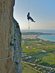 Blow it up on the internet (200m, 7b+, Chris Kalous, Jonathan Thesenga 11/2011) Monte Monaco, Sicily