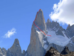 Aguja Poincenot, Patagonia. The line of ascent of the Whillans route.