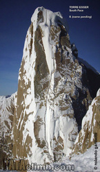 The south face of Torre Egger in Patagonia and the line of the route established by the Norwegians Bjørn-Eivind Aartun and Ole Lied in December 2011.