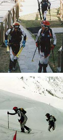 Sopra: all'arrivo del 13° Mezzalama. Sotto: 16° Pierra Menta Tivoly – la più dura gara di sci alpinismo d'Europa.