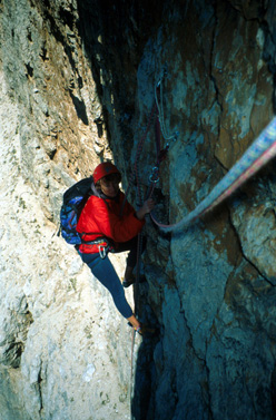 Climbing Scotonata galactika on Cima Scotoni, Dolomites