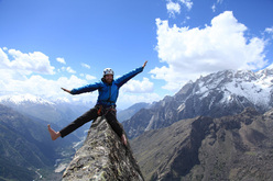 Giovanni Quirici on the summit of Trishul direct, Shoshala (4700m), Baspa Valley, India.