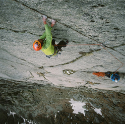 Yannick Boissenot during the first ascent of Trishul direct, Shoshala (4700m), Baspa Valley, India.