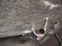 Dai Koyamada on his boulder problem Shanbara 8C, Toyota, Japan