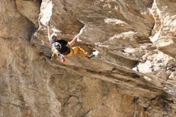 Lorenzo De Bonis climbing L Coup 'd Roure 8a, Coup di Rore
