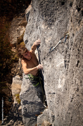 The German climber Roland Hemetzberger at Achleiten, Austria