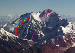 Diamir Nanga Parbat: Austro-Canadian (red, Messner-Messner-Eisendle-Tomaseth (2000, blue), Moro-Lafaille (2003, yellow) and the classic Kinshofer (1962, pink) source http://intotherocks.splinder.com.