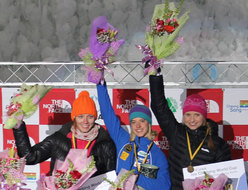 The podium of the first stage of the Ice Climbing World Cup 2012 which took place in Cheongsong (Korea) on 14-15/01/2012. Angelika Rainer in the centre.