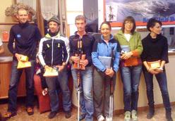 Il podio maschile del Mera Ski Alp 2012