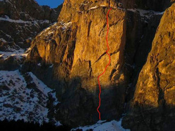 The route line of Non ci resta che piangere IX+/X-, Piz Ciavazes (Sella, Dolomites)
