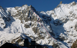 The SE Ridge of Dent du Jetoula (Mont Blanc) descended on 16/01/2012 by Davide Capozzi and Stefano Bigio.