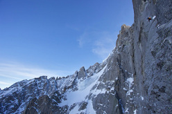 Voie Lesueur, Ueli Steck and Jonathan Griffith on Petit Dru