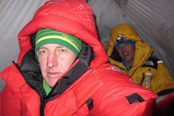 Denis Urubko and Simone Moro in their tent at 5550m during their attempt to carry out the first winter ascent of Nanga Parbat