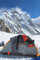 Nanga Parbat and the Camp established by Simone Moro and Denis Urubko