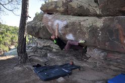 Klemen Becan bouldering at Albarracin