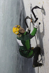 Angelika Rainer winner of the second stage of the Ice Climbing World Cup 2012 at Saas Fee and new European Champion.