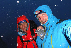David Lama and Peter Ortner on the Compressor Route, Cerro Torre, during their attempt in February 2011.
