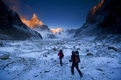 David Lama and Peter Ortner on their way towards the Compressor Route, Cerro Torre, during their attempt in February 2011.