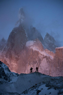 David Lama and Peter Ortner below Cerro Torre, February 2011.