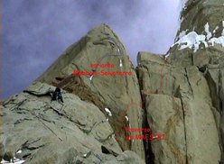The line of ascent taken by the Salvaterra-Mabboni variation and the Maestri traverse on the Compressor route, Cerro Torre, Patagonia