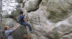 Adam Ondra spotted by Jacky Godoffe on C'etait Demain, the first 8A at Fontainebleau established by Godoffe in 1984.