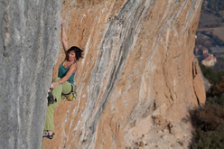 Barbara Raudner sending Full Equip 8c at Oliana, Spain