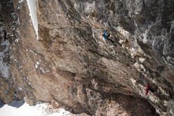 Ines Papert and Lisi Steurer during the first female ascent of Illuminati (M11+ WI6+) Val Lunga, Selva Gardena (Italy)