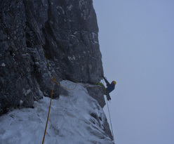 29/01/2012: Greg Boswell making the coveted second ascent of Don't die of Ignorance, XI,11, Ben Nevis, Scotland.