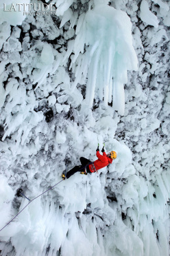 Tim Emmett during the first ascent of the mixed ice fall Spray On... Top! (230m, W10, M9+) at the Helmcken Falls, Canada.