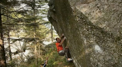 Bernd Zangerl freeing the boulder problem Bravirabi 8A+/B in Val Noasca.