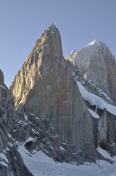 Via Russo (1600m (750m new terrain) 6b (ABO) A4 M4) up the SE Face of Aguja Poincenot in Patagonia