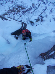 On the second steep section of the Balma Massiet icefall, Vallone di Sea