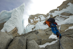 David Lama making the first free ascent of the Compressor Route, Cerro Torre, Patagonia 20-21 January 2012.