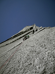 Der Grantler (230m, 6b) established in February 2011 by German climbers Frank Kretschmann and Mario Gliemann up Cerro Trinidad Sur in the Cochamo Valley, Chile.