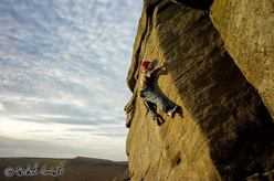 Michele Caminati, hard boulders at Burbage in England
